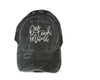 One Tough Mama Black Distressed Mineral Wash + Grey Embroidered Pony Trucker Hat with CRISS-CROSS opening *Final Sale