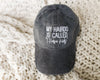 My Hairdo Is Called I Have Kids Black Mineral Wash + White Embroidered Baseball Hat *Final Sale
