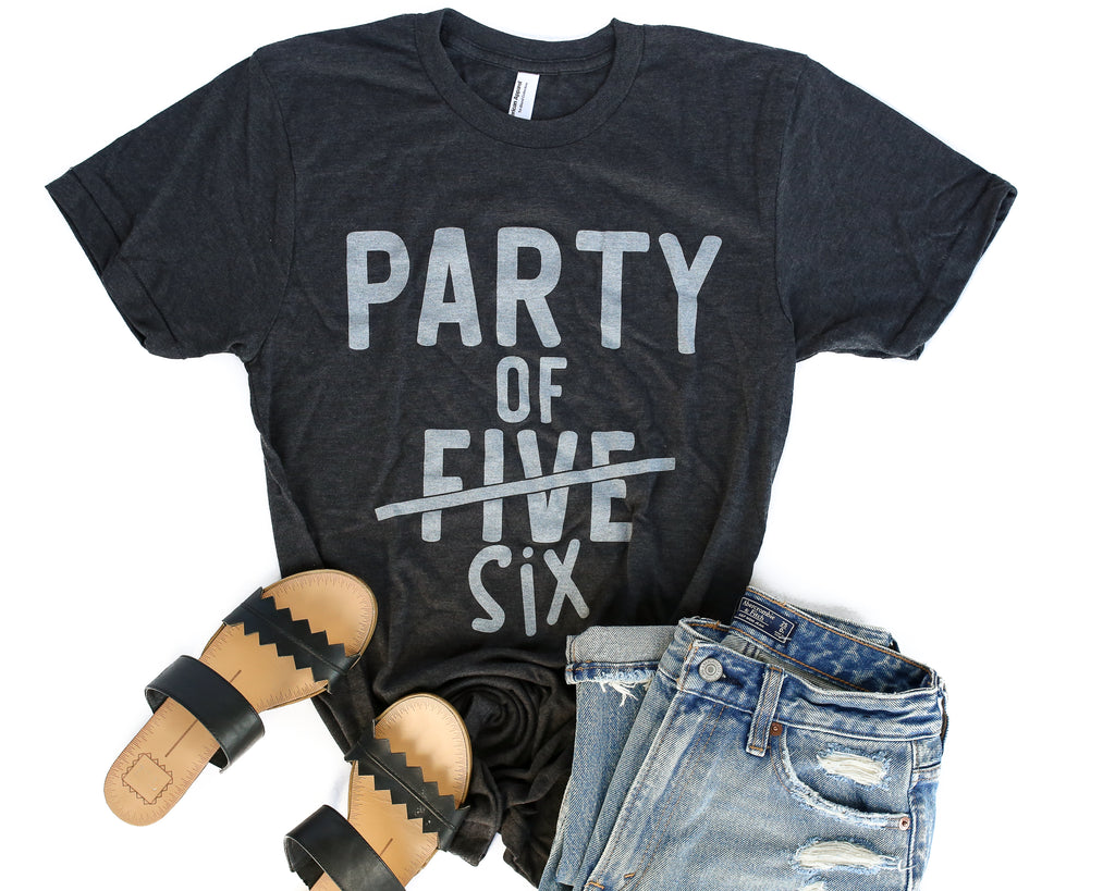 Party of SIX Charcoal + Vintage White Ink Tee