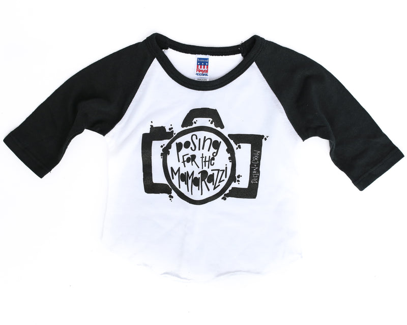Posing For The Mamarazzi Black/White + Matte Black Ink Raglan
