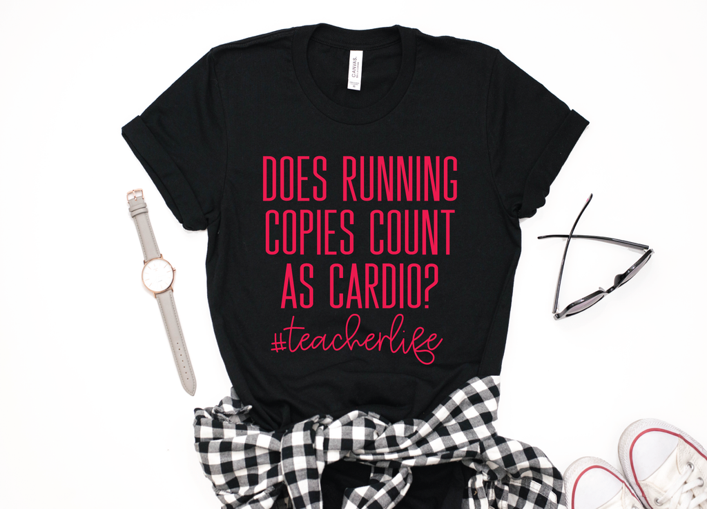 Does Running Copies Count As Cardio? #TEACHERLIFE Black + Metallic Red Ink Crew Neck Tee