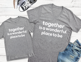 Together Is A Wonderful Place To Be Heather Grey + Vintage White Ink Crew Neck Tee *Final Sale