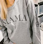 mama grey graphic fleece pullover