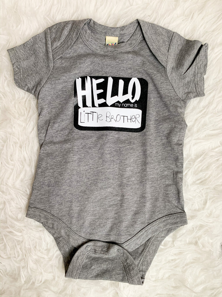 Hello, My Name is Little Brother/Sister Bodysuit