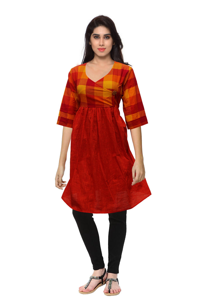 VAVarna Red Colored Cotton Kurta AR10B32