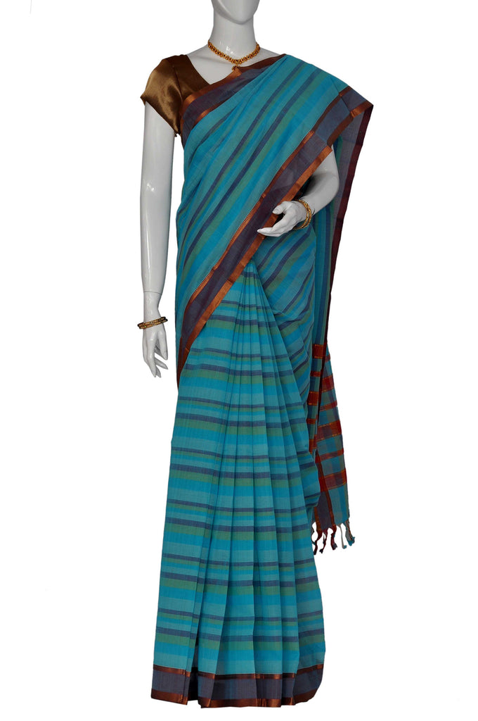 Azure  Mangalagiri Handloom Pure Cotton Saree
