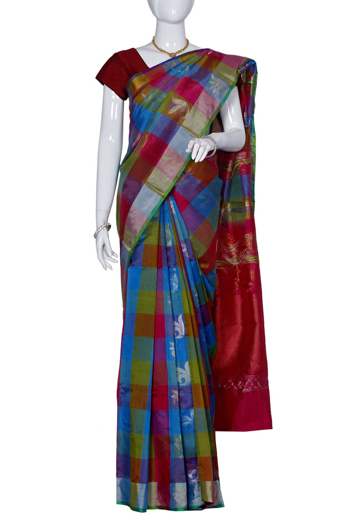 Azure & Red Assam Handloom Pure Silk Cotton Saree