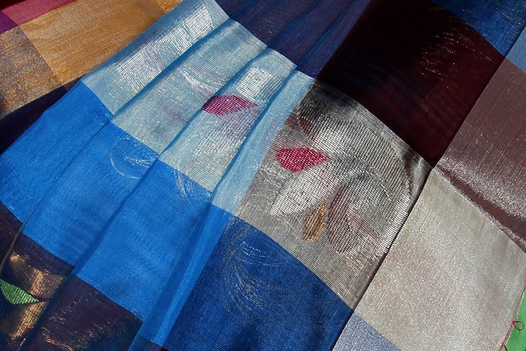 Blue & White Assam Handloom Pure Silk Cotton Saree