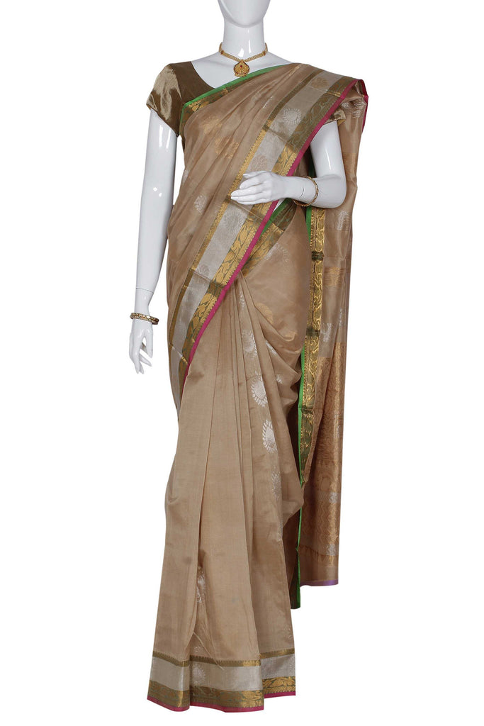 Beige  Kanchipuram Handloom Pure Silk Cotton Saree