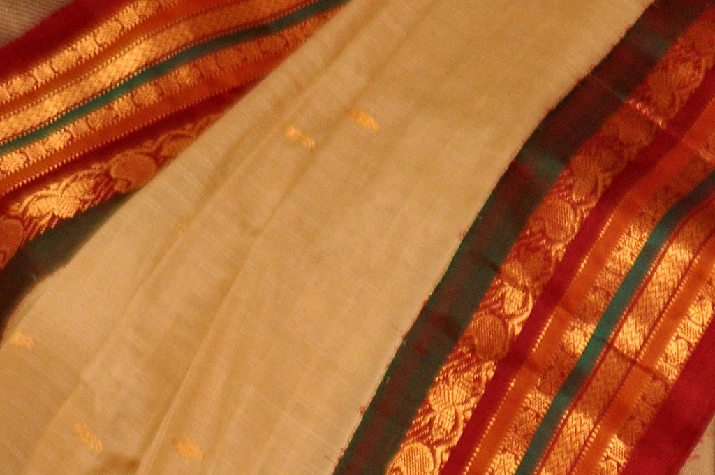 Beige Pure Gadwal Jamdani  Silk Cotton Saree