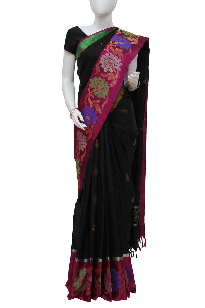 Black Coimbatore Handloom Pure Silk Saree