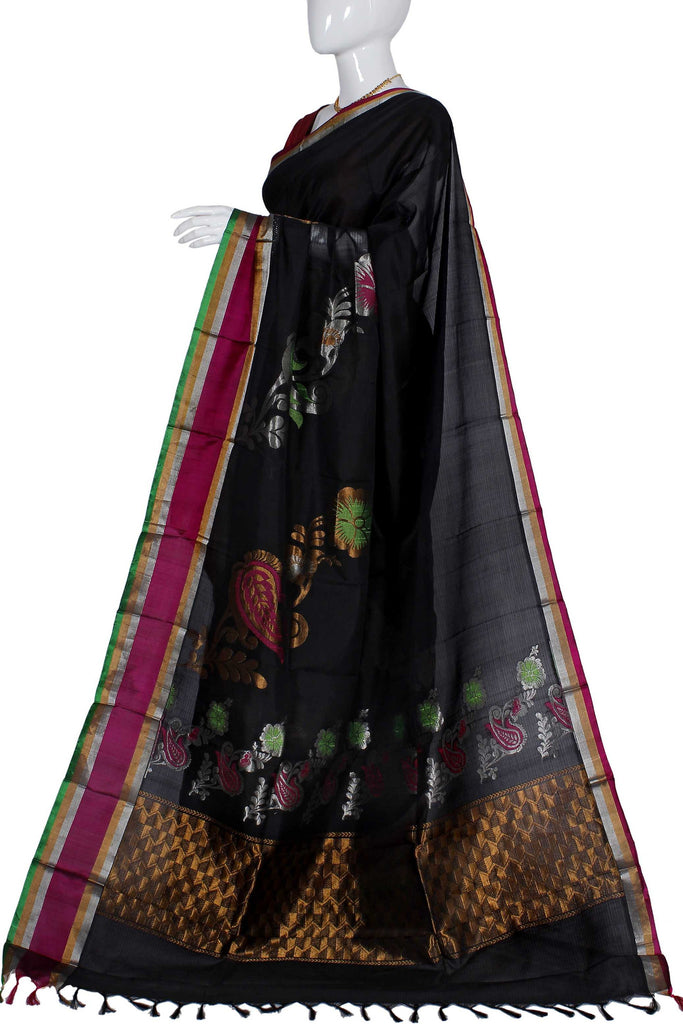 Black Kanchipuram Handloom Pure Silk Saree