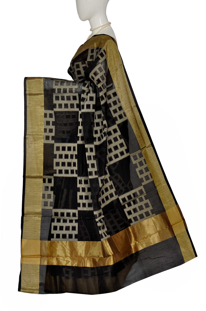 Black Uppada Handloom Pure Cotton Saree 3521070