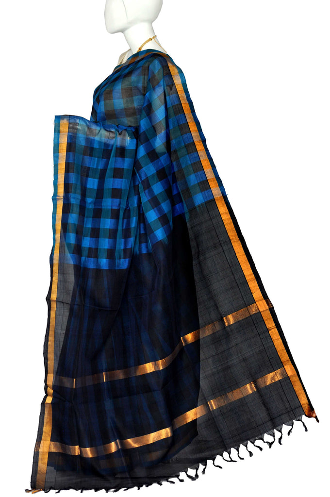 Blue & Black  Mangalagiri Handloom Pure Silk Cotton Saree