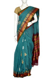 Blue Green  Gadwal Silk Border Handloom Pure Cotton Saree