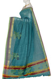 Blue Green  Printed Coimbatore Handloom Pure Cotton Saree