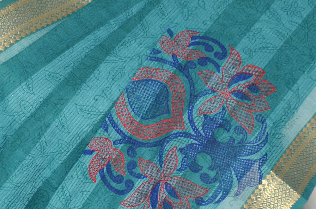 Blue Green Printed Kanchipuram Handloom Pure Cotton Saree