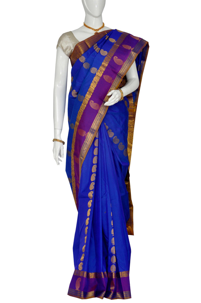 Blue  Pure Kanchipuram Handloom Silk Saree