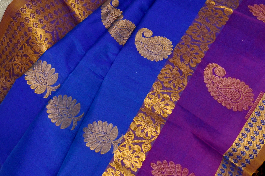 Blue Blue Blue  Pure Kanchipuram Handloom Silk Saree