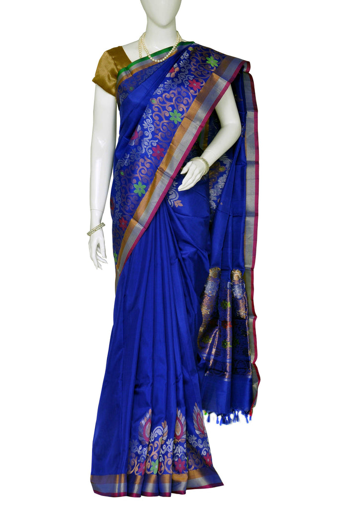 Blue Uppada Jamdani Handloom Pure Silk Saree