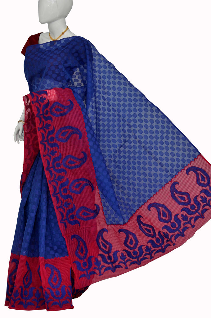 Blue with Red  Border Super Net Saree