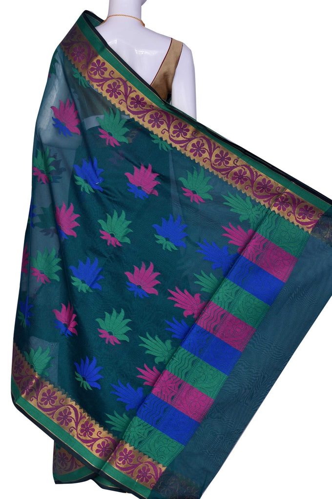 Bottle Green  Jacquard Art Silk Saree