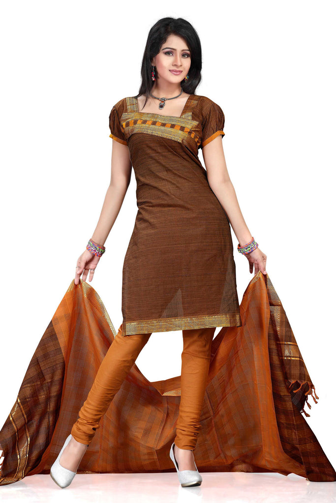 Brown Mangalagiri Pure Cotton Unstitched Salwar Kameez