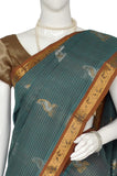 Cerulean Jacquard Kanchipuram Handloom Pure Cotton Saree