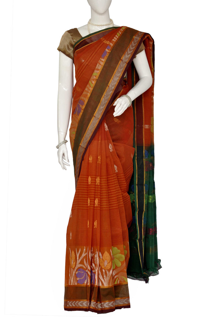 Coral Jacquard Kanchipuram Handloom Pure Cotton Saree