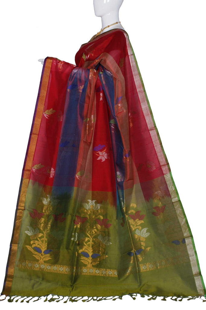 Coral & Light Purple Assam Handloom Pure Silk Cotton Saree