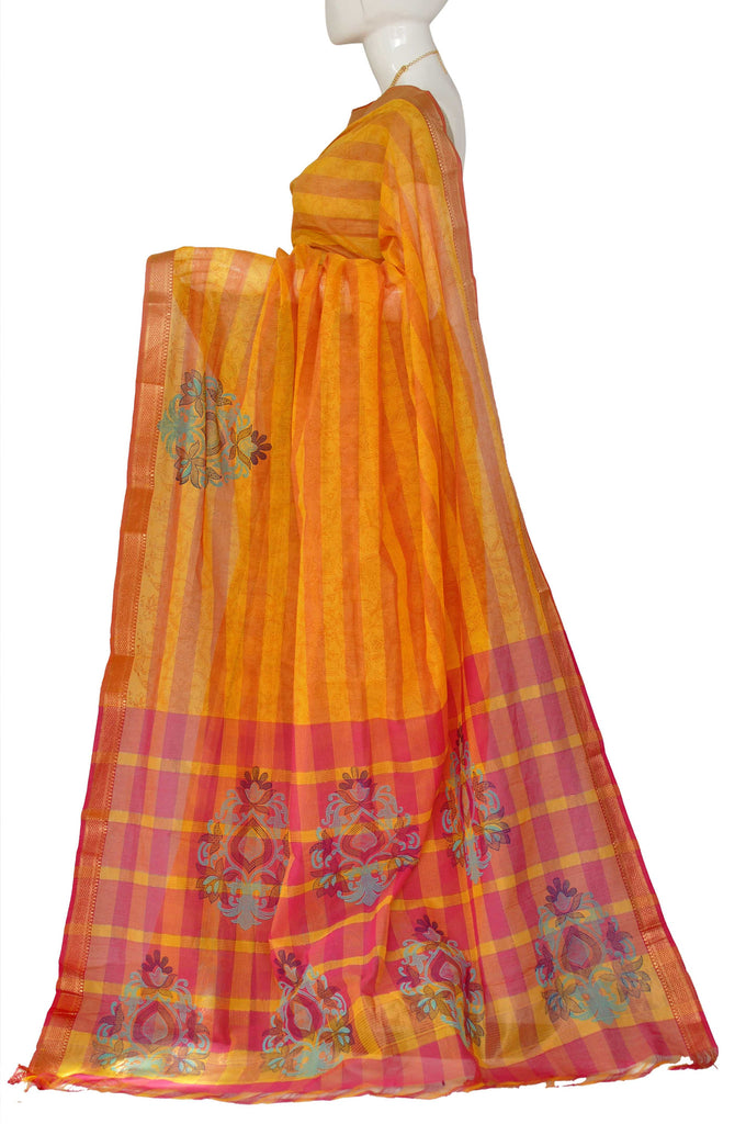 Coral Printed Kanchipuram Handloom Pure Cotton Saree