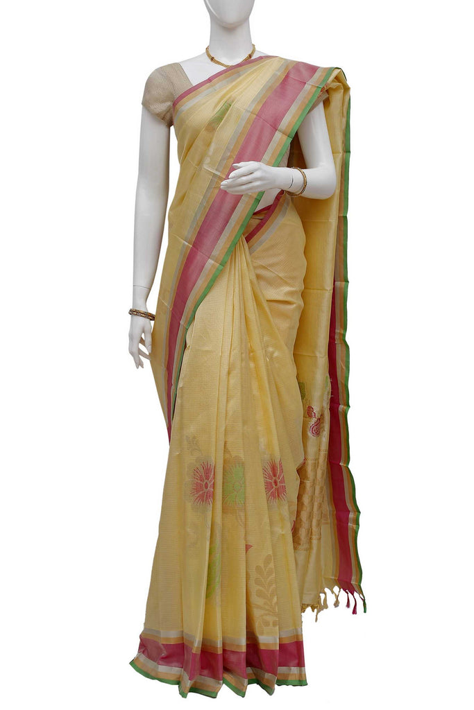 Cream Kanchipuram Handloom Pure Silk Saree