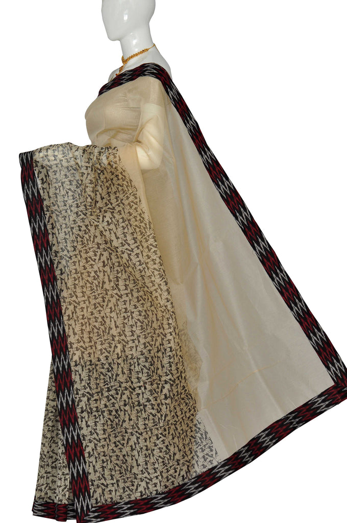 Cream Printed Chanderi Handloom Pure Cotton Saree