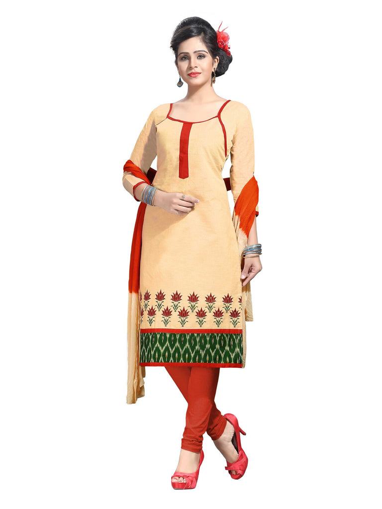 Cream Printed Ikat Pure Cotton Unstitched Salwar Kameez 0511240142
