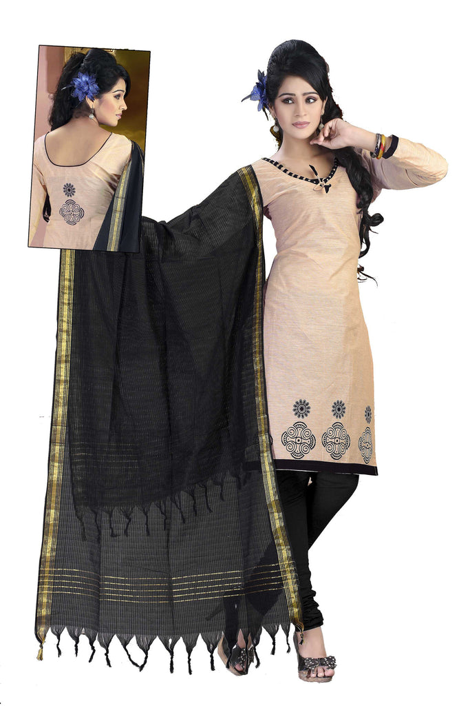 Cream Printed South Pure Cotton Unstitched Salwar Kameez
