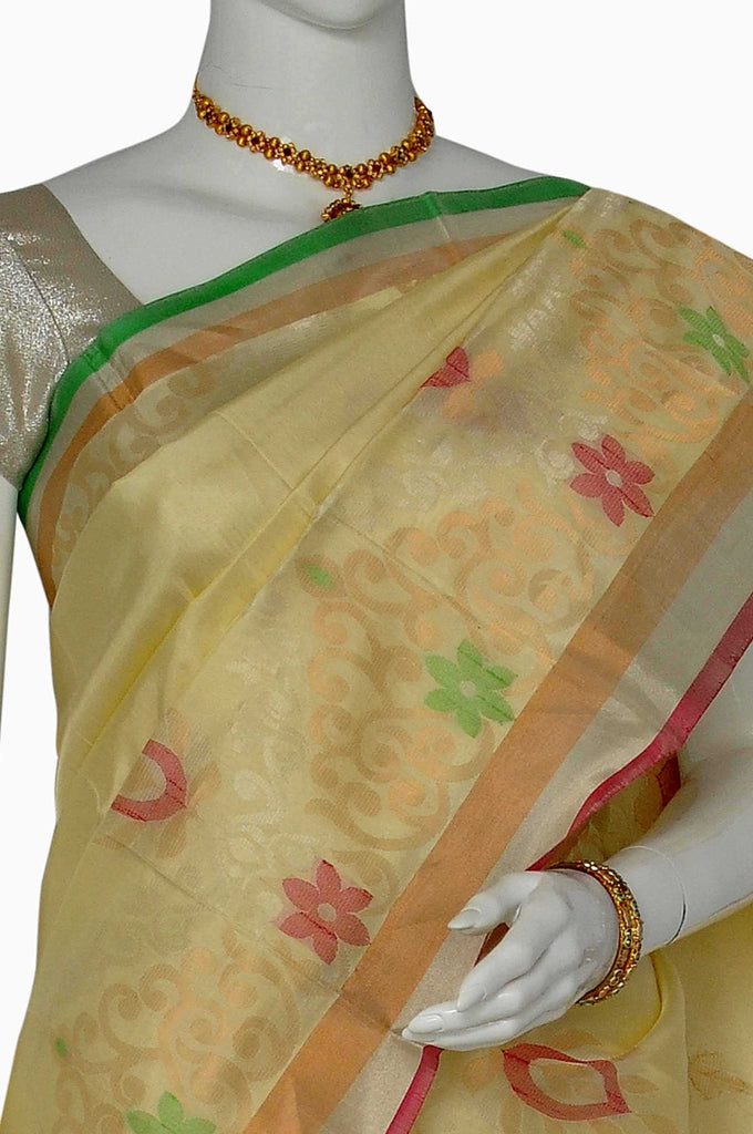 Cream Uppada Jamdani Handloom Pure Silk Saree