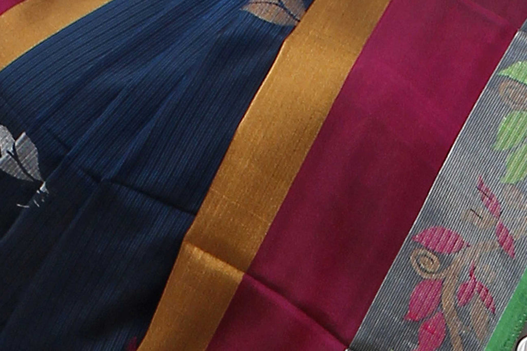 Dark Cerulean Uppada Handloom Pure Silk Saree