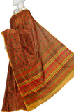 Dark Coral Mysore Soft Silk Print Saree