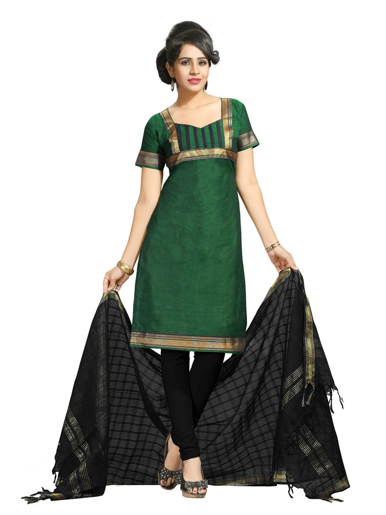 Dark Green Mangalagiri Pure Cotton Unstitched Salwar Kameez 0911250242