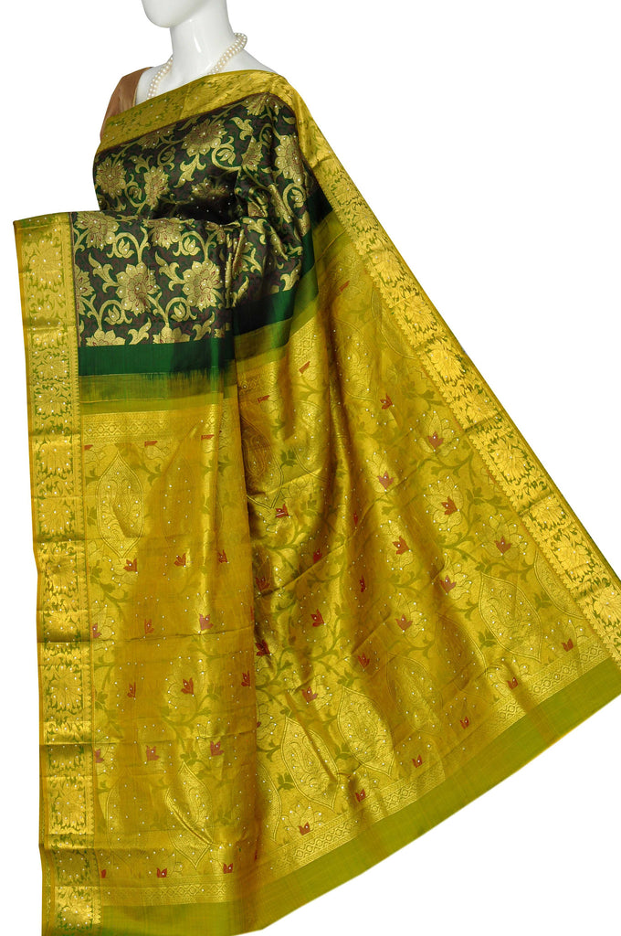 ca905e193df2b Dark Green Pure Kanchipuram Handloom Silk Saree 3302070 – VaVarna