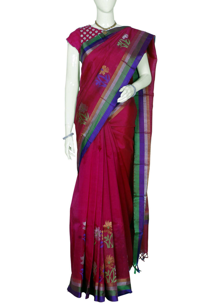 Dark Pink Ksheerapuri Handloom Pure Silk Cotton Saree