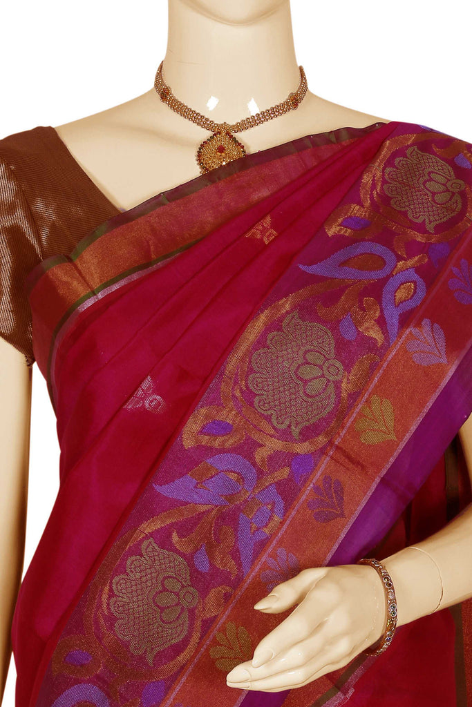Dark Rose Kanchipuram Handloom Pure Silk Cotton Saree