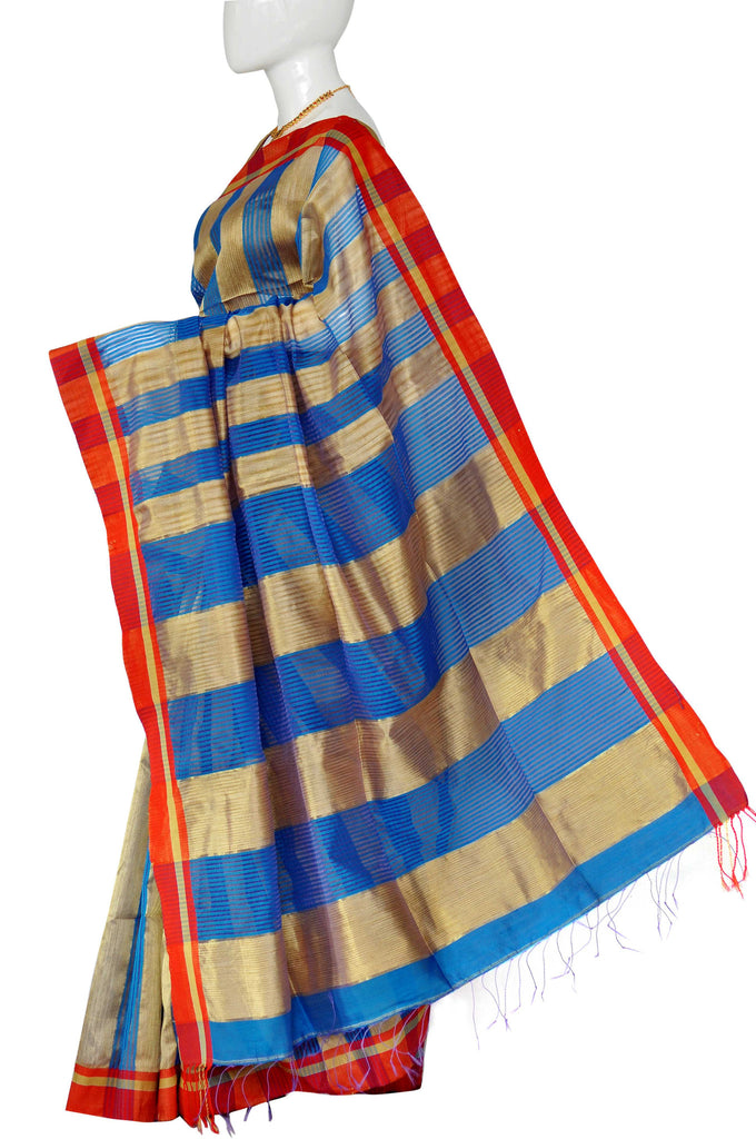 Gold & Blue Dhaka Handloom Pure Cotton Saree 324070