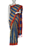 Gold & Blue Dhaka Handloom Pure Cotton Saree