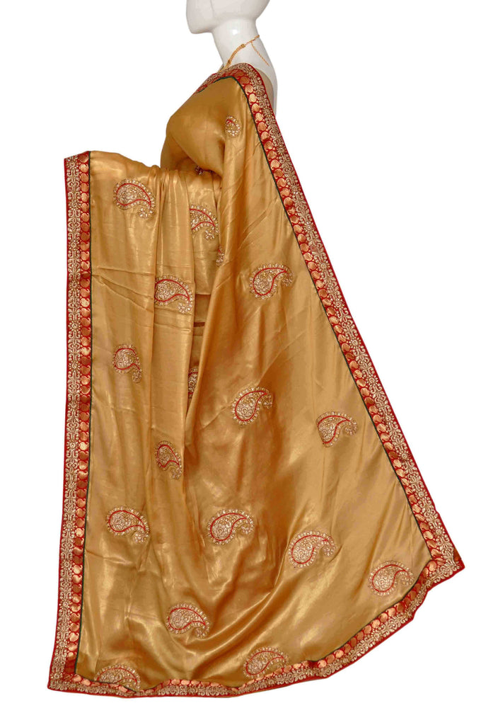 Gold & Red Embroidered Pure Georgette Saree