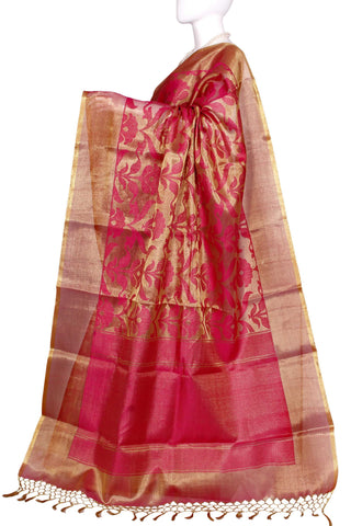 a910740de4f7ad Golden   Pink Pure Banaras Brocade Handloom Silk Saree 1203070