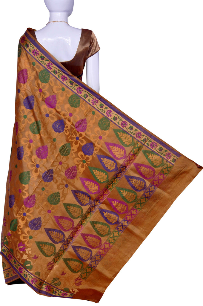 Golden Pure Banaras Dupion Cutwork Silk Saree