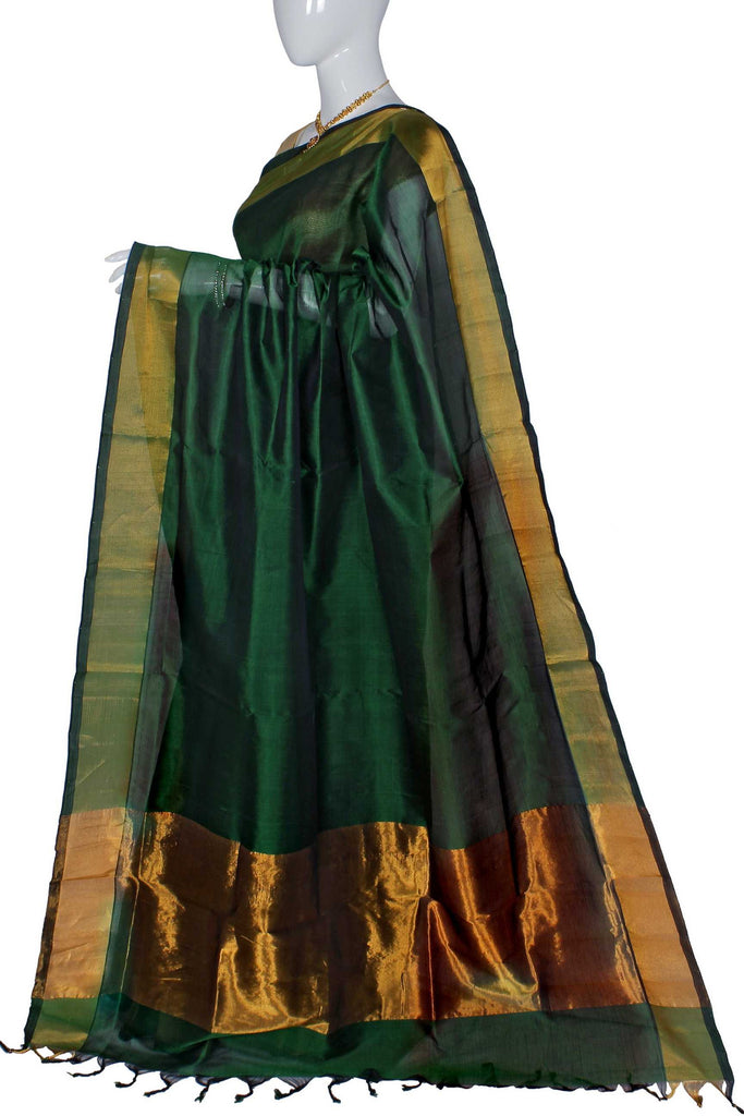 Green Assam Handloom Pure Silk Cotton Saree
