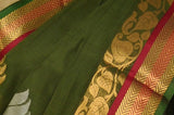 Green Gadwal Silk Border Handloom Pure Cotton Saree