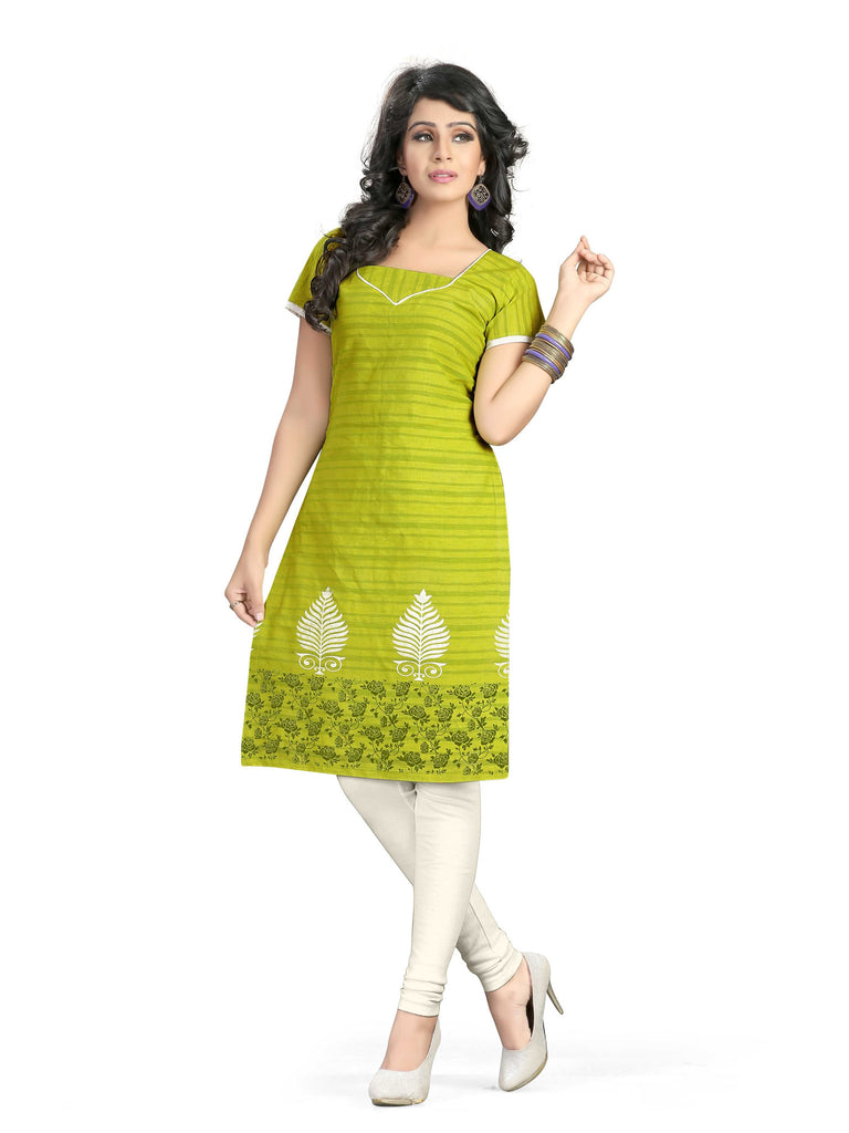 Green Printed South Pure Cotton Unstitched Salwar Kameez